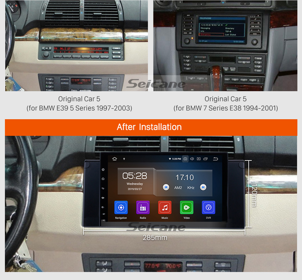 Seicane 9 inch 2000-2007 BMW X5 E53 3.0i 3.0d 4.4i 4.6is 4.8is Android 9.0 GPS Navigation System with 3G WiFi TPMS DVR OBDII Rear Camera AUX  USB 1080P Steering Wheel Control