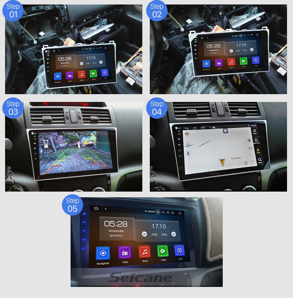 Seicane HD 1024 * 600 écran tactile 2008-2015 Mazda 6 Android 9.0 lien Radio Mirror Bluetooth GPS TPMS DVR Rearview caméra TV 3G WIFI 16G flash CPU Quad Core