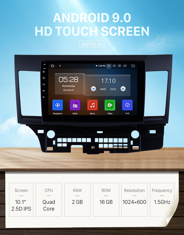 Seicane 10,1-дюймовый Android 9.0 Radio GPS-навигационная система на 2007-2015 годы Mitsubishi LANCER с зеркальной ссылкой Bluetooth HD 1024 * 600 с сенсорным экраном OBD2 DVR Камера заднего вида TV 1080P Video USB Управление рулевым колесом