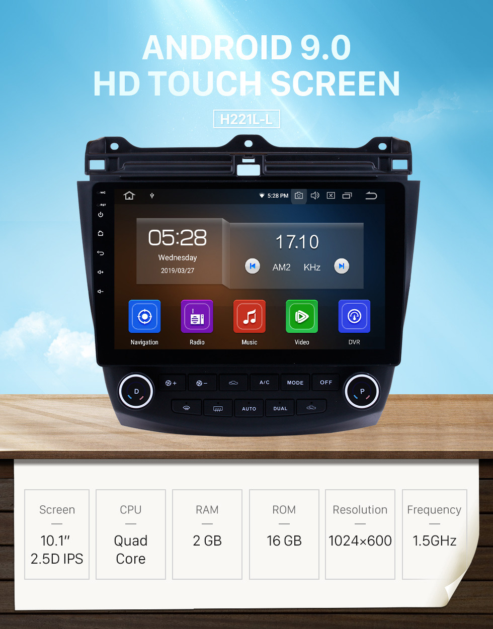 Seicane 10,1 pouces HD 1024 * 600 Écran tactile 2003 2004 2005 2006 2007 Honda Accord 7 Android 9.0 Radio Navigation GPS Bluetooth USB WIFI 1080P Assistance OBD2 DVR Rearview