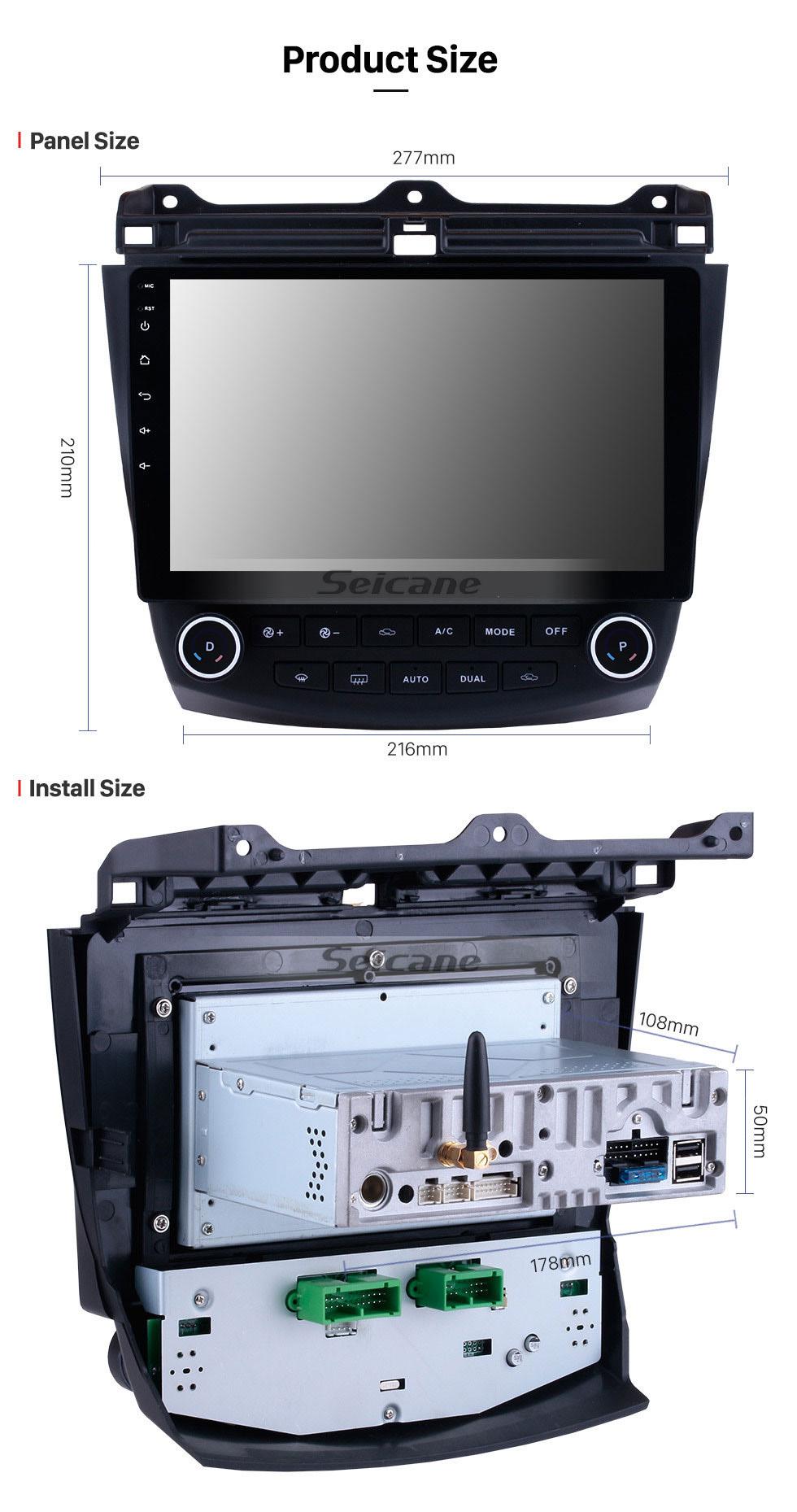 Seicane 10,1 дюймовый HD 1024 * 600 Сенсорный экран 2003 2004 2005 2006 2007 Honda Accord 7 Android 9.0 Радио GPS-навигация Bluetooth USB WIFI 1080P Поддержка OBD2 DVR Камера заднего вида
