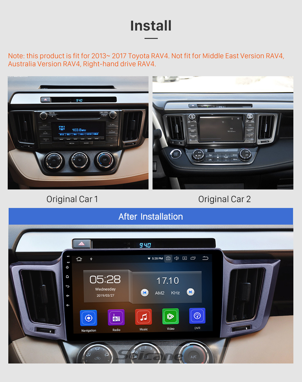 Seicane 10,1 pouces Android 9.0 Radio de navigation GPS pour 2013-2016 Toyota RAV4 LHD avec écran tactile HD Carplay Bluetooth WIFI USB support AUX Mirror Link OBD2
