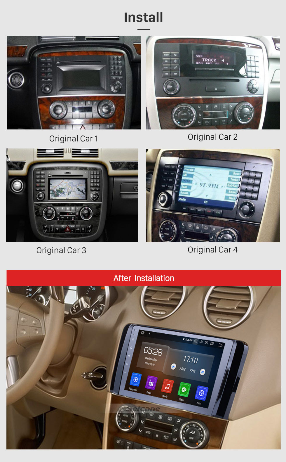 Seicane 9 inch 2006-2013 Mercedes Benz R Class W251 R280 R300 R320 R350 R63 Android 9.0 HD Touchscreen Radio GPS Navigation system with Bluetooth WIFI USB 1080P Video OBD2 DVR Mirror Link Steering wheel control