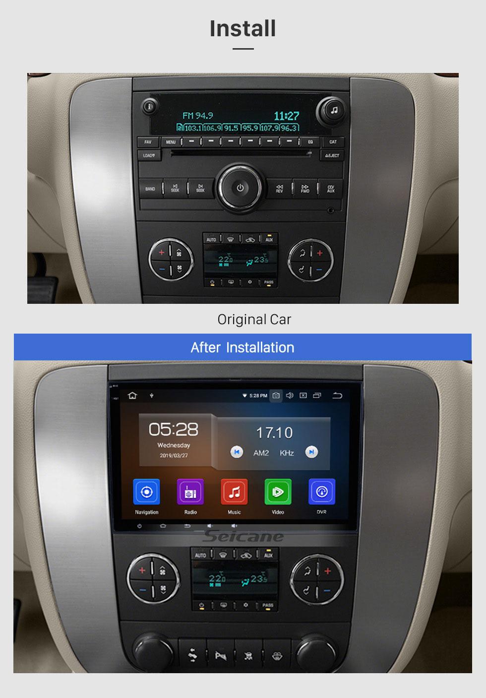 Seicane Android 9.0 2007 2008 2009 2010 2011 GMC Yukon 8 Zoll HD Touchscreen Autoradio Hauptgerät GPS Navigation Musik Bluetooth WIFI Unterstützung 1080P Video Backup Kamera Lenkradsteuerung