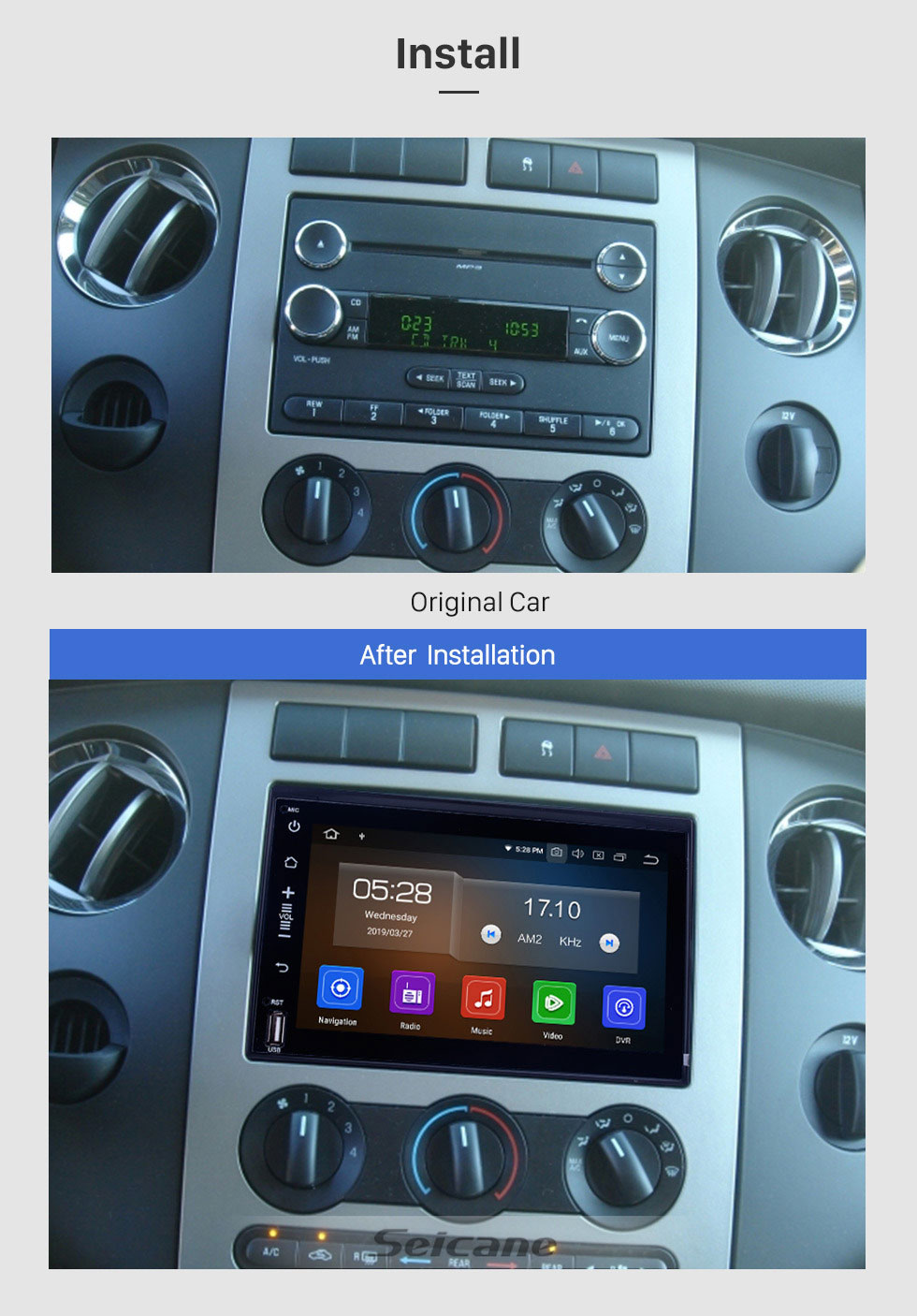 Seicane 2005-2008 2009 Ford Escape Mustang Android 9.0 1024 * 600 Radio-DVD GPS-Navigationssystem Bluetooth WiFi Spiegel Link-OBD2 1080P Video