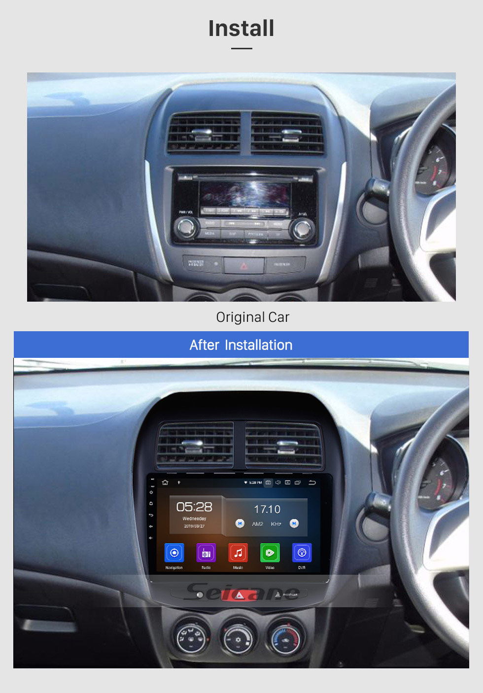 Seicane 10.1 Inch HD Touchscreen Radio Android 9.0 Head Unit For 2010-2012 2013-2015 Mitsubishi ASX Car Stereo GPS Navigation System Bluetooth Phone WIFI Support Mirror Link OBDII DVR Steering Wheel Control USB