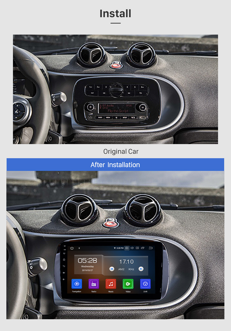 Seicane 9 Inch 2015 2016 Mercedes-Benz SMART Fortwo Android 9.0 GPS Navigation system Radio Capacitive Touch Screen TPMS DVR OBD II Rear camera AUX USB 3G WiFi Steering Wheel Control HD 1080P Video Bluetooth
