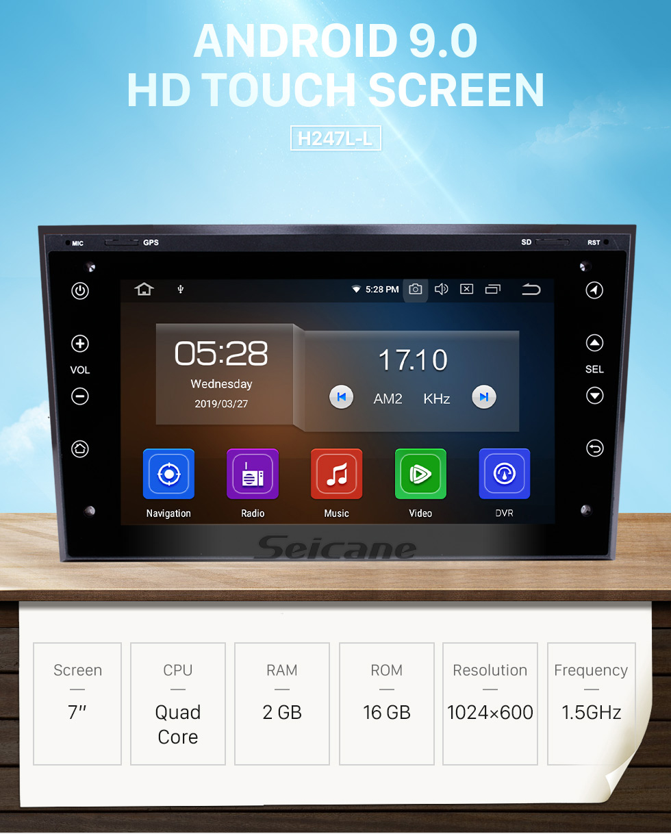 Seicane Android 9.0 7 inch 2006-2011 OPEL Corsa HD 1024*600 Touch Screen Radio Head Unit with GPS Navigation Audio system Bluetooth Music USB WIFI 1080P Video Digital TV