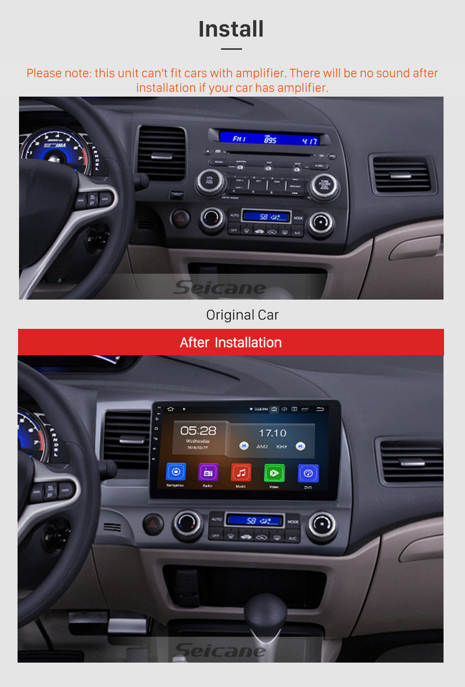 Seicane Android 9.0 Autoradio Navigation Aftermarket Stereo for 2006-2011 Honda Civic with 3G WiFi DVD Radio RDS Bluetooth Mirror Link OBD2 Steering Wheel Control AUX