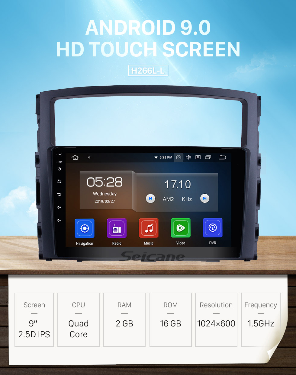 Seicane 9 Inch 2006-2017 MITSUBISHI PAJERO V97/V93 HD Touchscreen GPS Navigation System Android 9.0 Radio Support Bluetooth OBDII Rear Camera AUX Steering Wheel Control USB 1080P  Mirror Link 3G/4G WiFi TPMS DVR USB