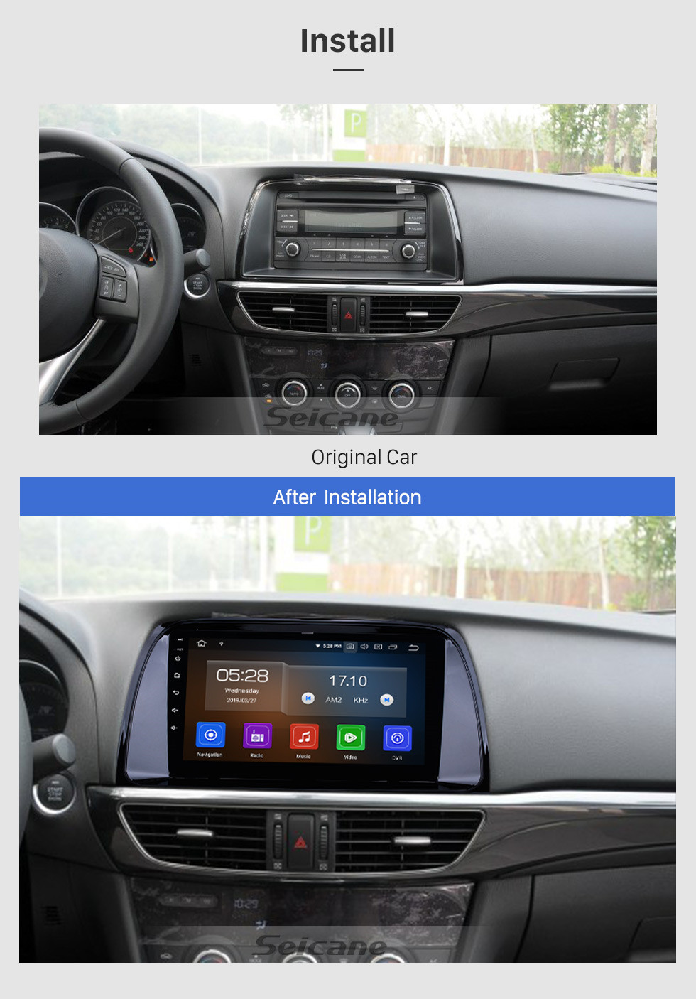 Seicane 9 Inch OEM Android 9.0 Radio GPS Navigation system For 2012 2013 2014 2015 MAZDA CX-5 with Bluetooth Capacitive Touch Screen TPMS DVR OBD II Rear camera AUX 3G WiFi HD 1080P Video Headrest Monitor Control USB SD