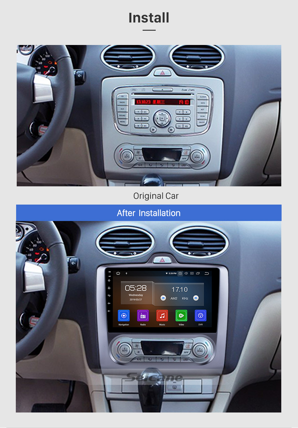 Seicane 10.1 Inch HD 1024*600 Android 9.0 2004-2011 Ford Focus 2 Bluetooth Radio GPS Navigation Car Stereo Touchscreen Mirror Link USB RDS DAB+ Steering Wheel Control