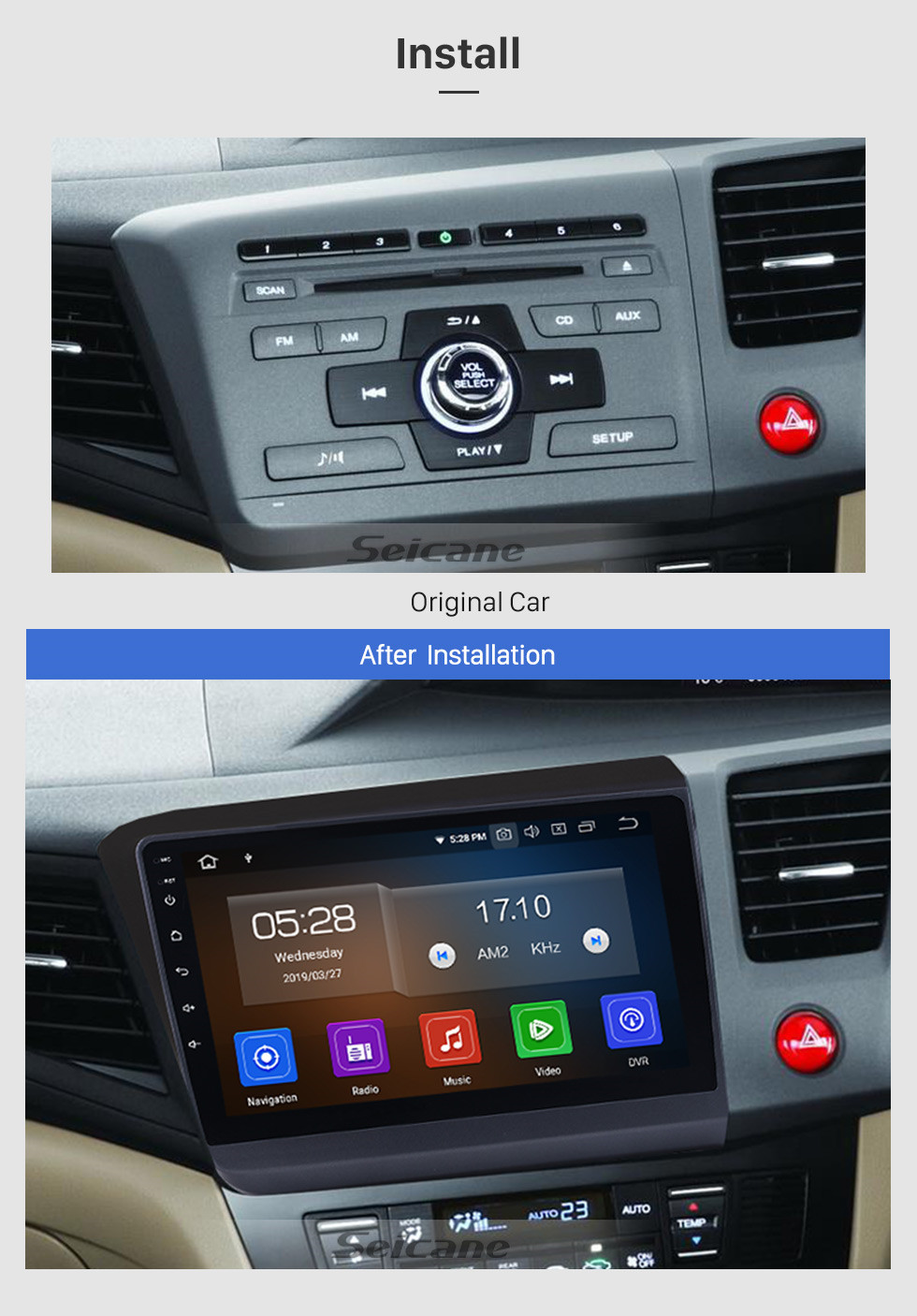 Seicane 2012 Honda Civic Right Hand Driving Car GPS Navigation Android 9.0 HD Touchescreen 9 inch Radio Steering Wheel Control Bluetooth music 4G Wifi USB support OBD2 DVD Player