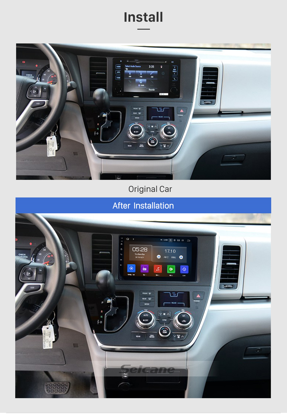 Seicane Aftermarket Android 9.0 Radio GPS Navigation system for 2015-2018 Toyota Sienna with Capacitive Touch Screen TPMS DVR OBDII Control USB Bluetooth 3G WiFi Video AUX Rear camera