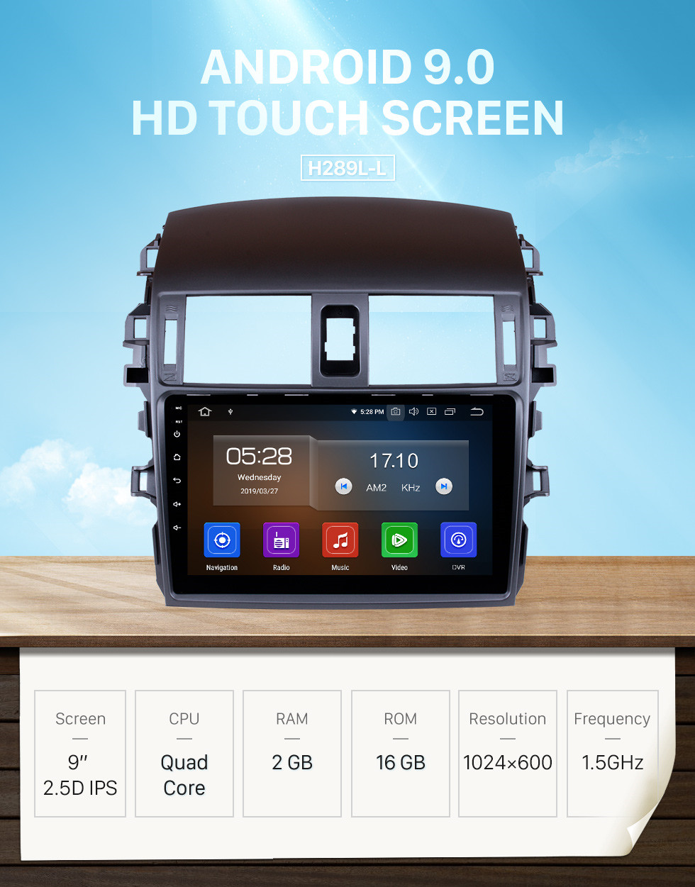 Seicane 9 Inch 2008-2010 Toyota Corolla Android 9.0 Capacitive Touch Screen Radio GPS Navigation system with Bluetooth TPMS DVR OBD II Rear camera AUX USB SD 3G WiFi Steering Wheel Control Video