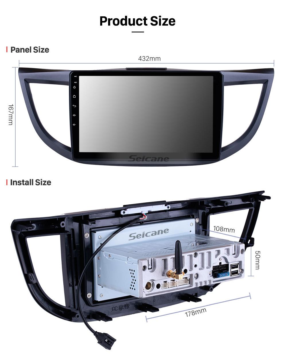 Seicane Android 9.0 10,1 pouces 1024 * 600 écran tactile 2011 2012 2013 2014 2015 HONDA CRV Système de navigation GPS avec Radio 4G wifi Bluetooth Mirror Digital Link TV OBD2 TPMS Caméra de recul