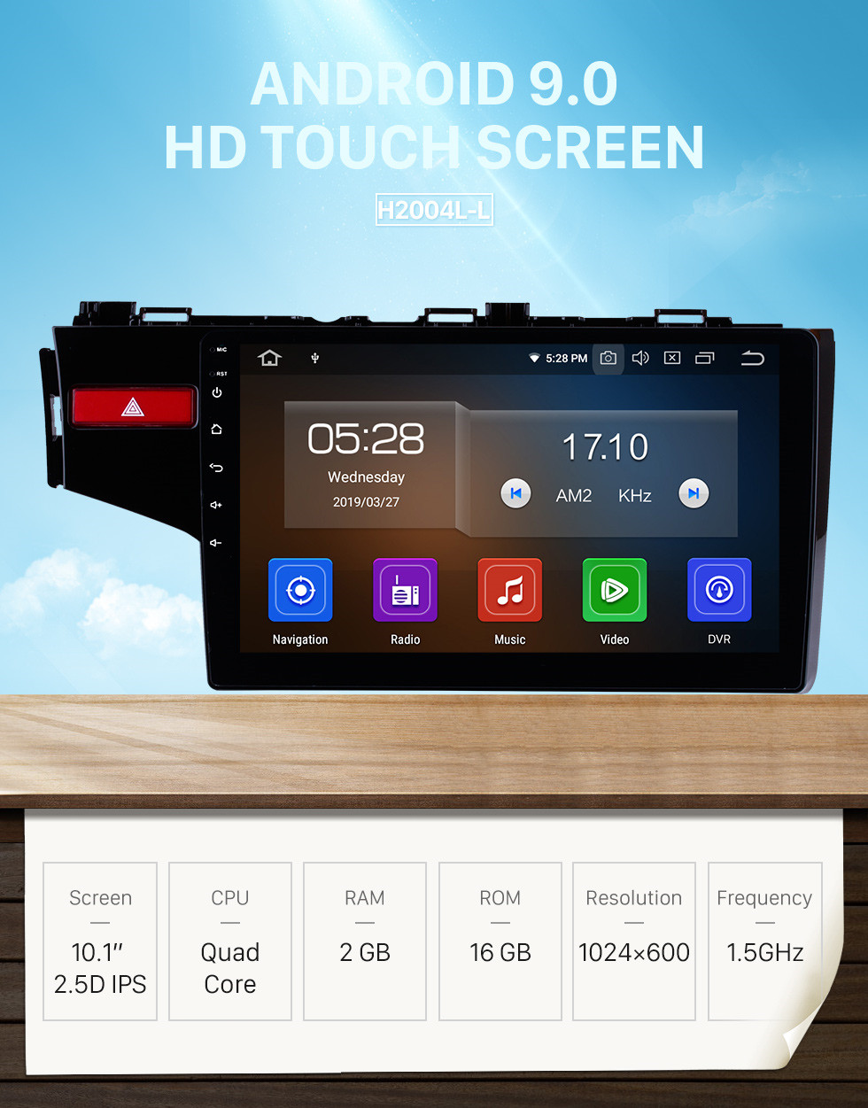 Seicane 10.1 Inch OEM Android 9.0 Radio Capacitive Touch Screen For 2014 2015 Honda FIT Support WiFi Bluetooth GPS Navigation system TPMS DVR OBD II AUX Headrest Monitor Control Video Rear camera USB SD