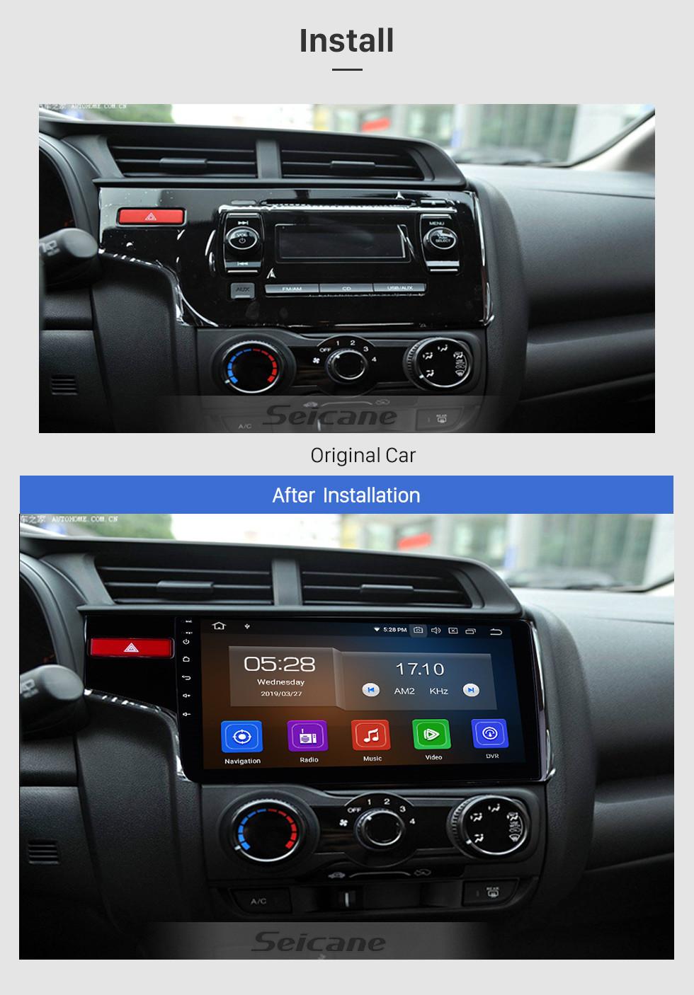 Seicane 10,1-дюймовый OEM Android 9.0 радио емкостный сенсорный экран для 2014 2015 Honda FIT Поддержка WiFi Bluetooth GPS Навигационная система TPMS DVR OBD II AUX Подголовник Монитор Управление Видео Задняя камера USB SD