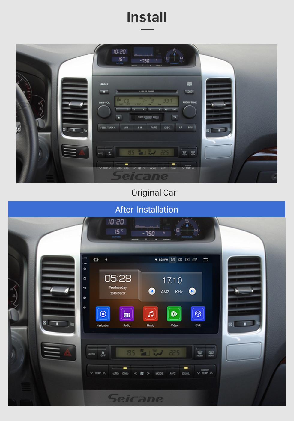 Seicane 2002-2009 Toyota Prado Cruiser 120 Android 9.0 Autoradio DVD Sistema de navegación con 3G WiFi Bluetooth Mirror Link OBD2 Cámara de visión trasera HD 1024 * 600 Pantalla multitáctil