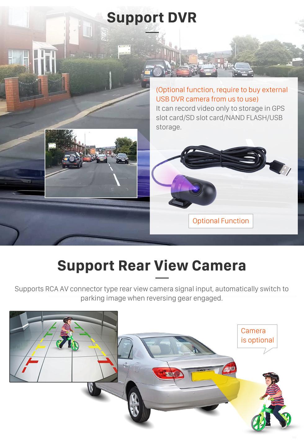 Seicane 2002-2009 Toyota Prado Cruiser 120 Android 9.0 Système de navigation DVD Autoradio avec 3G WiFi Bluetooth Mirror Link OBD2 Caméra de recul HD 1024 * 600 Écran tactile multipoint