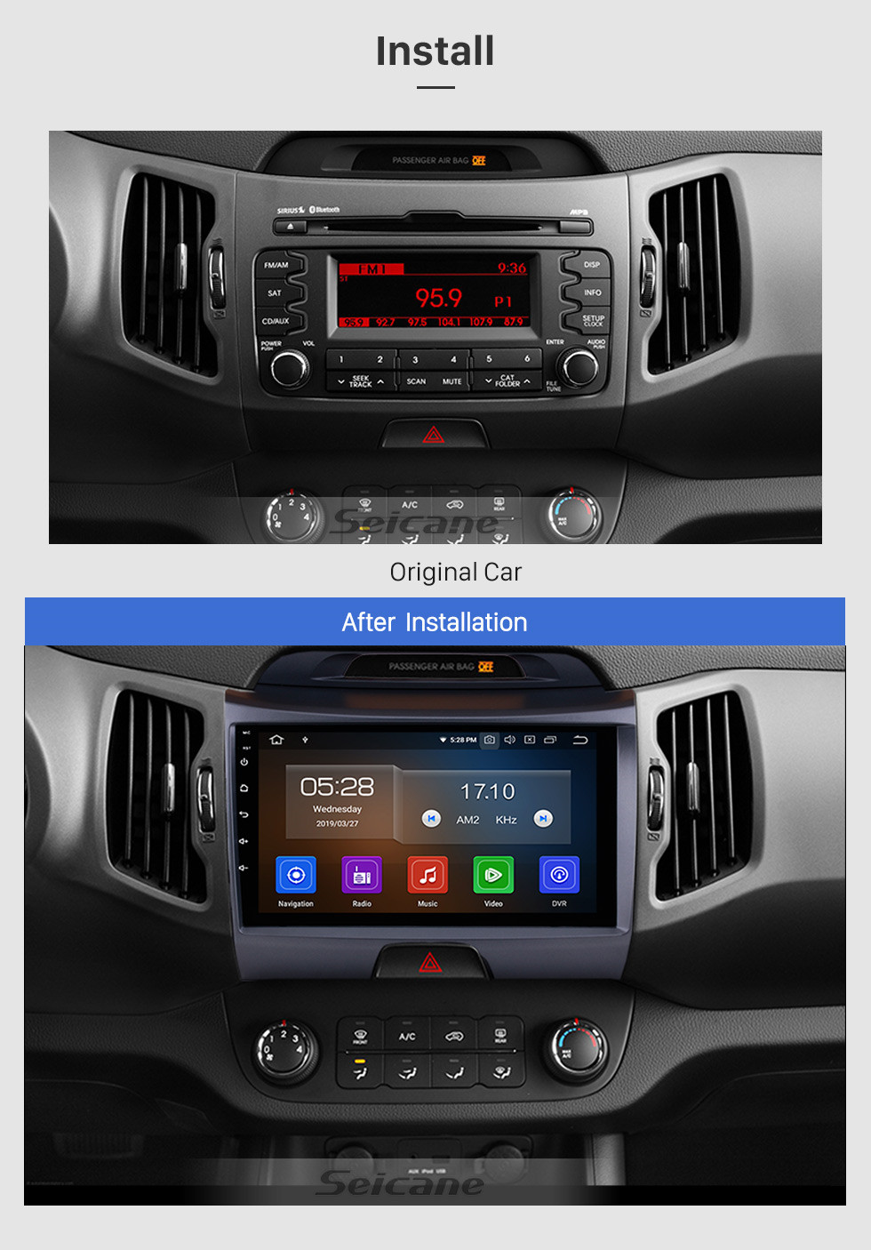 Seicane 9 Inch Android 9.0 Touch Screen radio Bluetooth GPS Navigation system For 2011-2015 KIA Sportage R with TPMS DVR OBD II USB SD 3G WiFi Rear camera Steering Wheel Control HD 1080P Video AUX