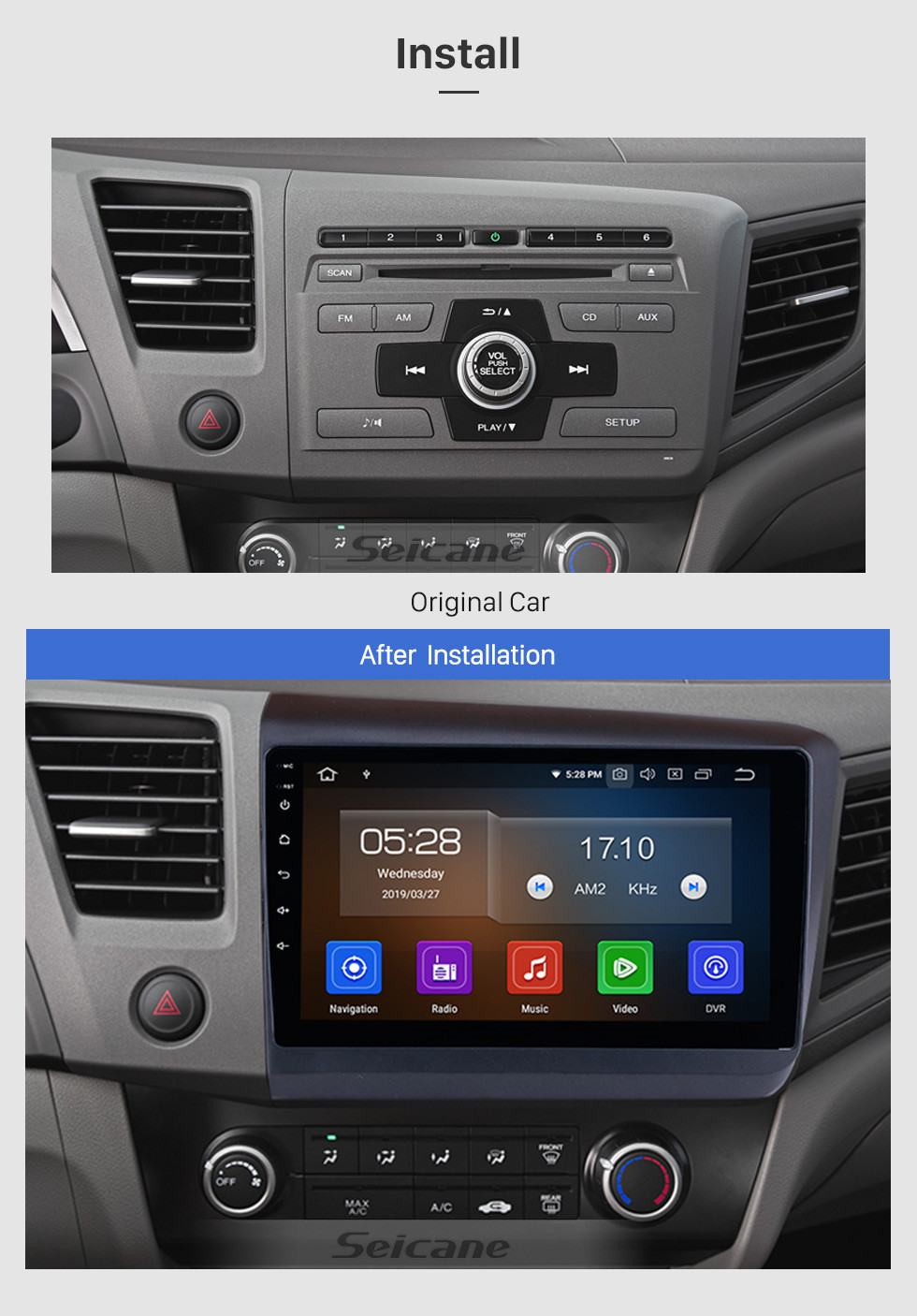 Seicane 10.1 inch  2012 Honda Civic Android 9.0 Radio GPS navigation system with HD 1024*600 touch screen Bluetooth OBD2 DVR Rearview camera TV 1080P Video 3G WIFI Steering Wheel Control USB Mirror link