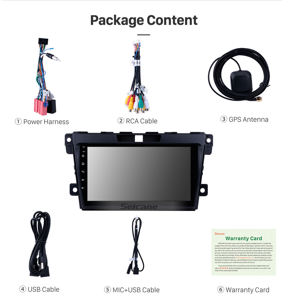Seicane 9 inch Android 9.0 Radio DVD Player for 2007-2014 MAZDA CX-7 with GPS Navigation Bluetooth USB WIFI 1080P OBD2 Steering Wheel Control Rearview