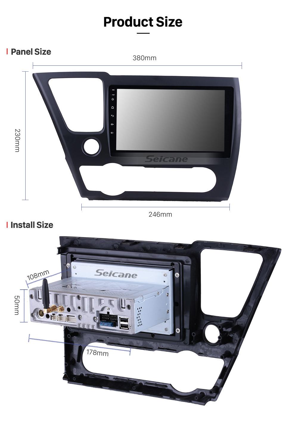 Seicane 2014 2015 2016 2017 Honda Civic Android 9.0 HD Touchscreen 9 inch car stereo GPS Navigation Radio Bluetooth Mirror link OBD DVR Rear view camera TV USB Carplay