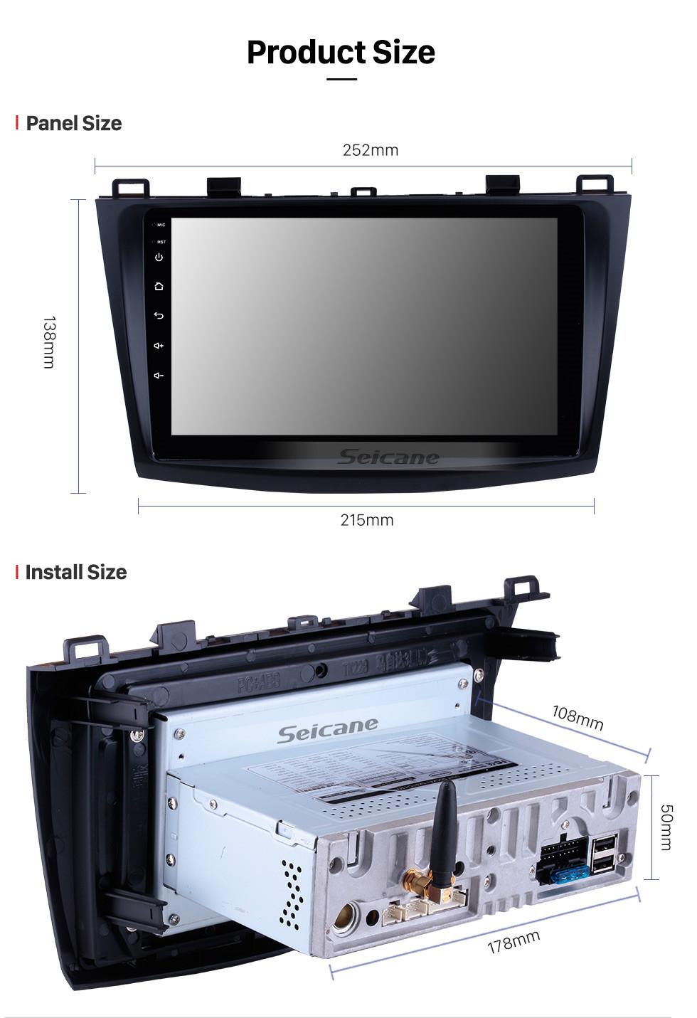 Seicane 9 pulgadas 2009-2012 Mazda 3 Axela HD Pantalla táctil Sistema de navegación GPS Android 9.0 Soporte Bluetooth Cámara trasera Control del volante DVR OBD II