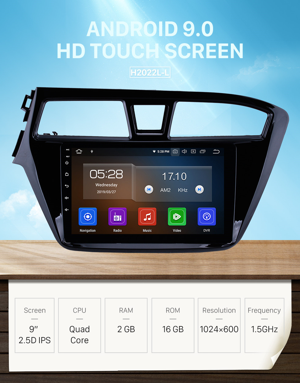 Seicane 9 inch HD Touchscreen Android 9.0 GPS Navigation System Bluetooth WIFI For 2014 2015 Hyundai I20 Support USB Rear View Camera DVR OBD II 1080P Video TPMS