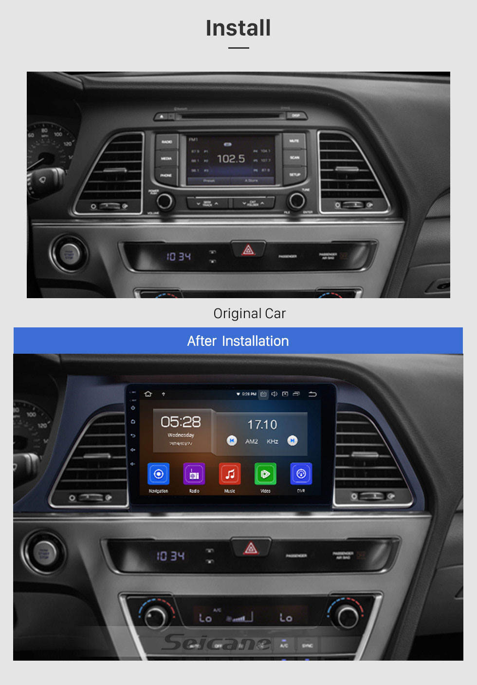 Seicane 9 Inch  HD Touch Screen for 2015 2016 2017 Hyundai sonata Android 9.0 Radio GPS Navigation with Rearview Camera Digital TV Steering Wheel Control Wifi Bluetooth Music