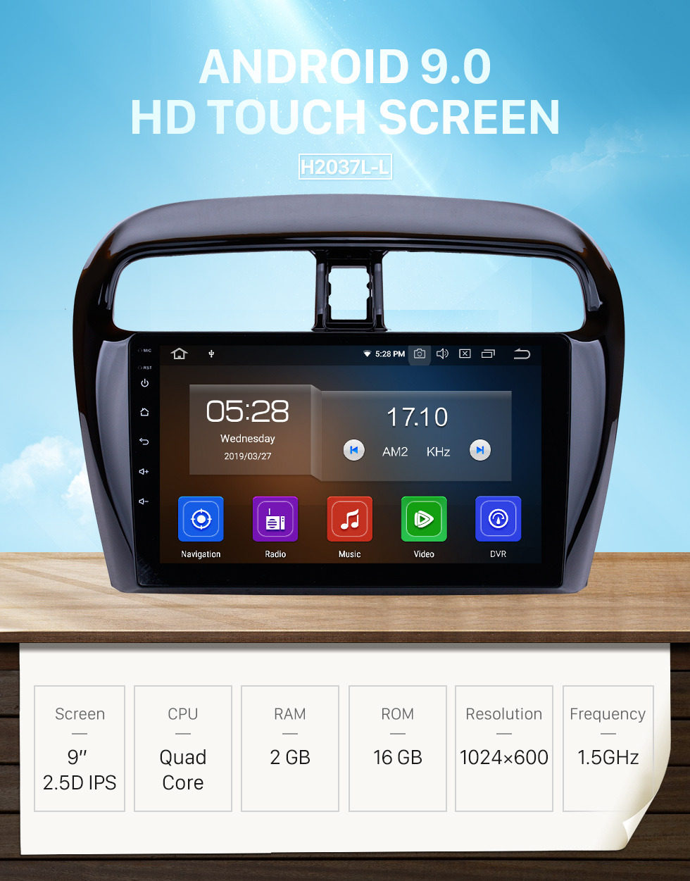 Seicane OEM Android 9.0 Radio for 2012-2018 Mitsubishi Mirage Bluetooth GPS navigation system HD Touchscreen WIFI Steering Wheel Control OBD2 Rearview camera TV 1080P