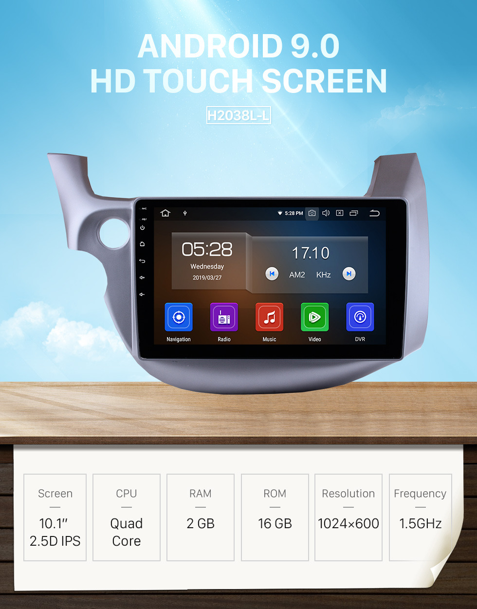 Seicane 10.1 inch Android 9.0 GPS  Radio Car Stereo for 2007-2013 Honda FIT left hand driver WIFI Bluetooth Mirror Link  HD 1024*600 Touch Screen SWC Navigation System OBD2 DVR  Rearview Camera TV USB 1080P Video
