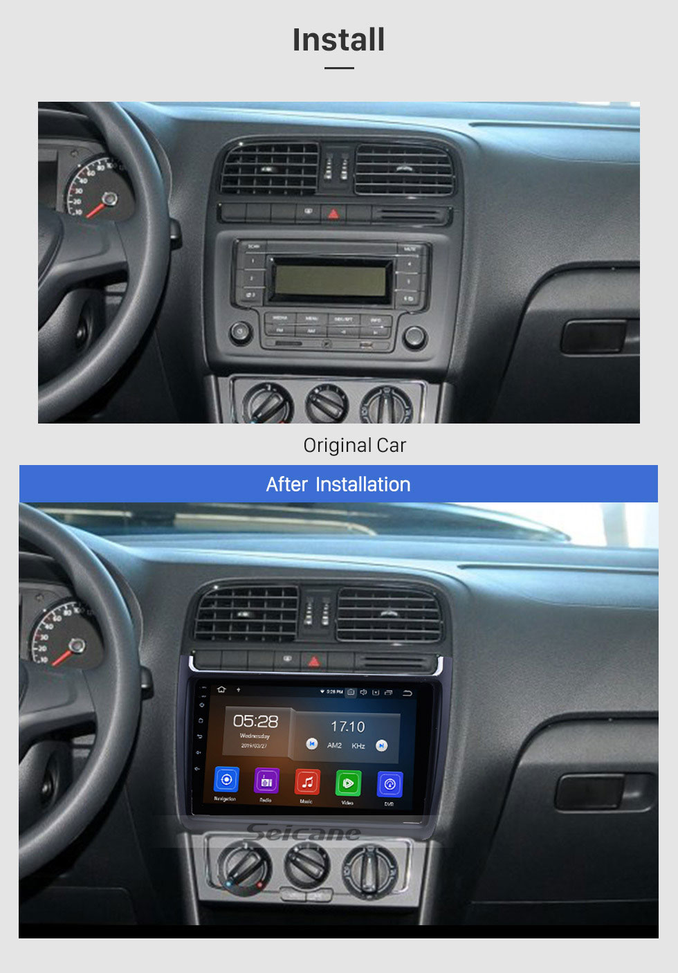 Seicane 2012 2013 2014 2015 VW Volkswagen POLO Android 9.0 HD 9 inch Touchscreen Multimedia Player Auto Radio GPS Navigation Bluetooth Music USB WIFI Wheel Steering Control AUX DVR