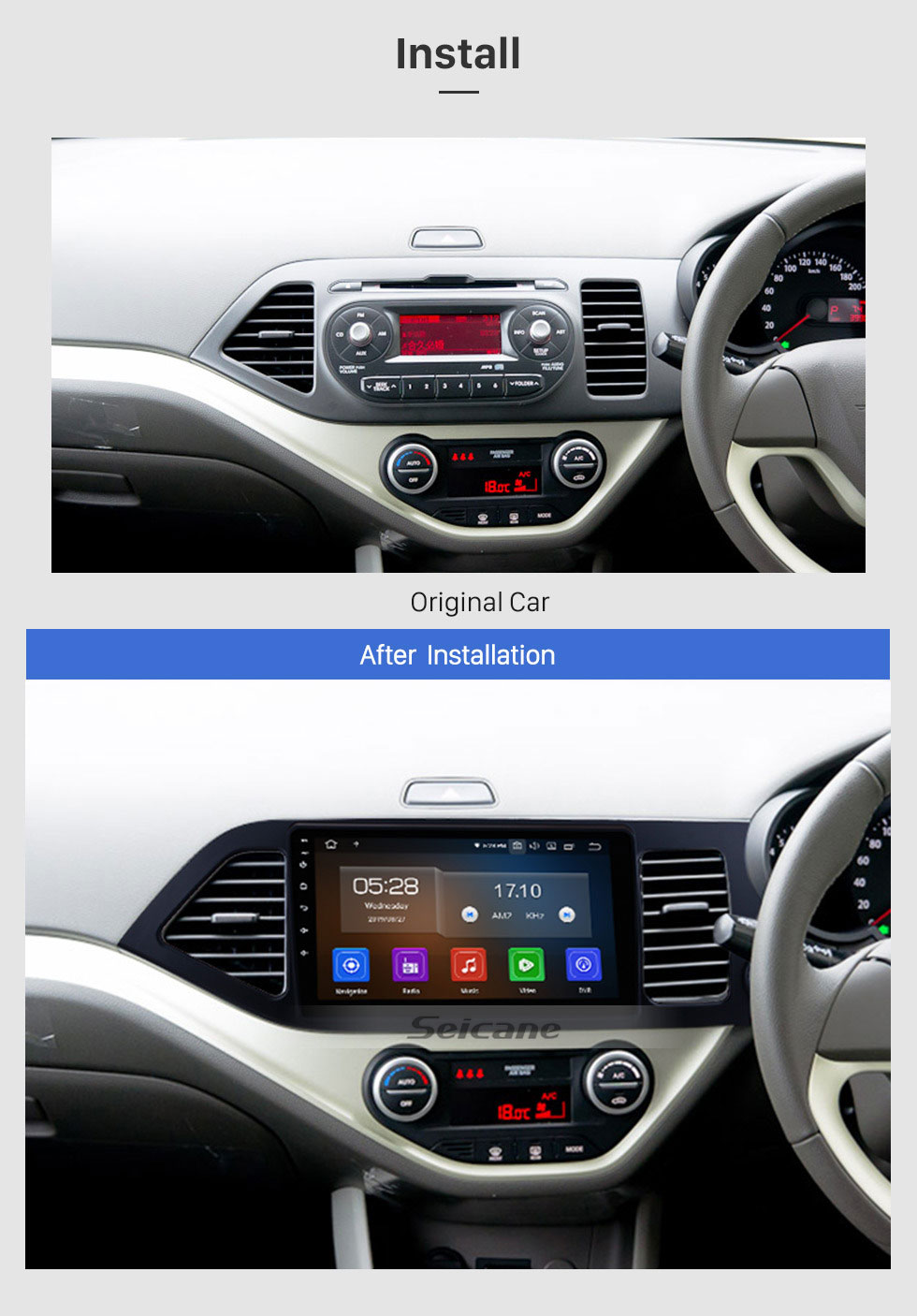 Seicane 9 Inch Android 9.0 GPS navigation system Radio for 2011-2014 Kia Morning RHD Mirror link HD 1024*600 touch screen OBD2 DVR Rearview camera TV 1080P Video 3G WIFI Steering Wheel Control Bluetooth USB