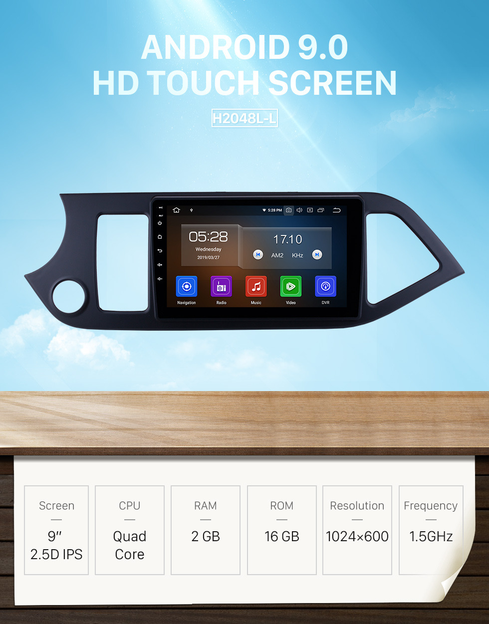 Seicane 9 inch 2011 2012 2013 2014 Kia Picanto Morning Android 9.0 GPS Navigation system Touch Screen Bluetooth AM/FM Radio AUX 3G/4G WiFi DVR Auto AV Steering Wheel Control Backup Camera DVD Player