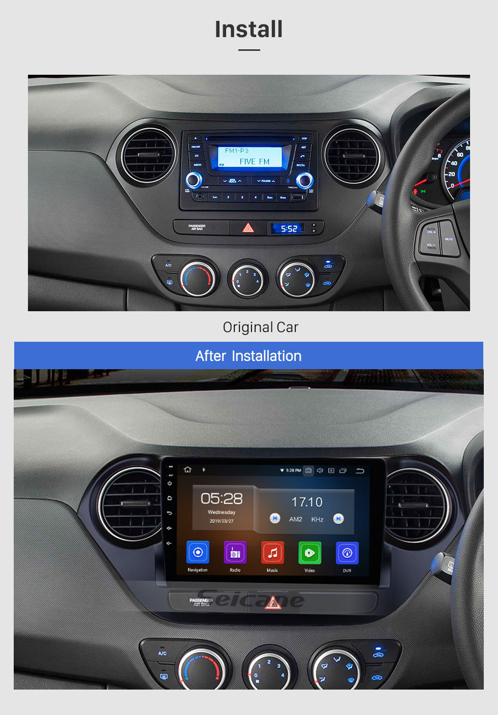 Seicane 9 inch Android 9.0 GPS Navigation System HD Touch Screen Radio 2013-2016 Hyundai I10 Right Peptide Support OBD2 Bluetooth DVD Player DVR Rearview Camera TV Video Steering Wheel Control WIFI