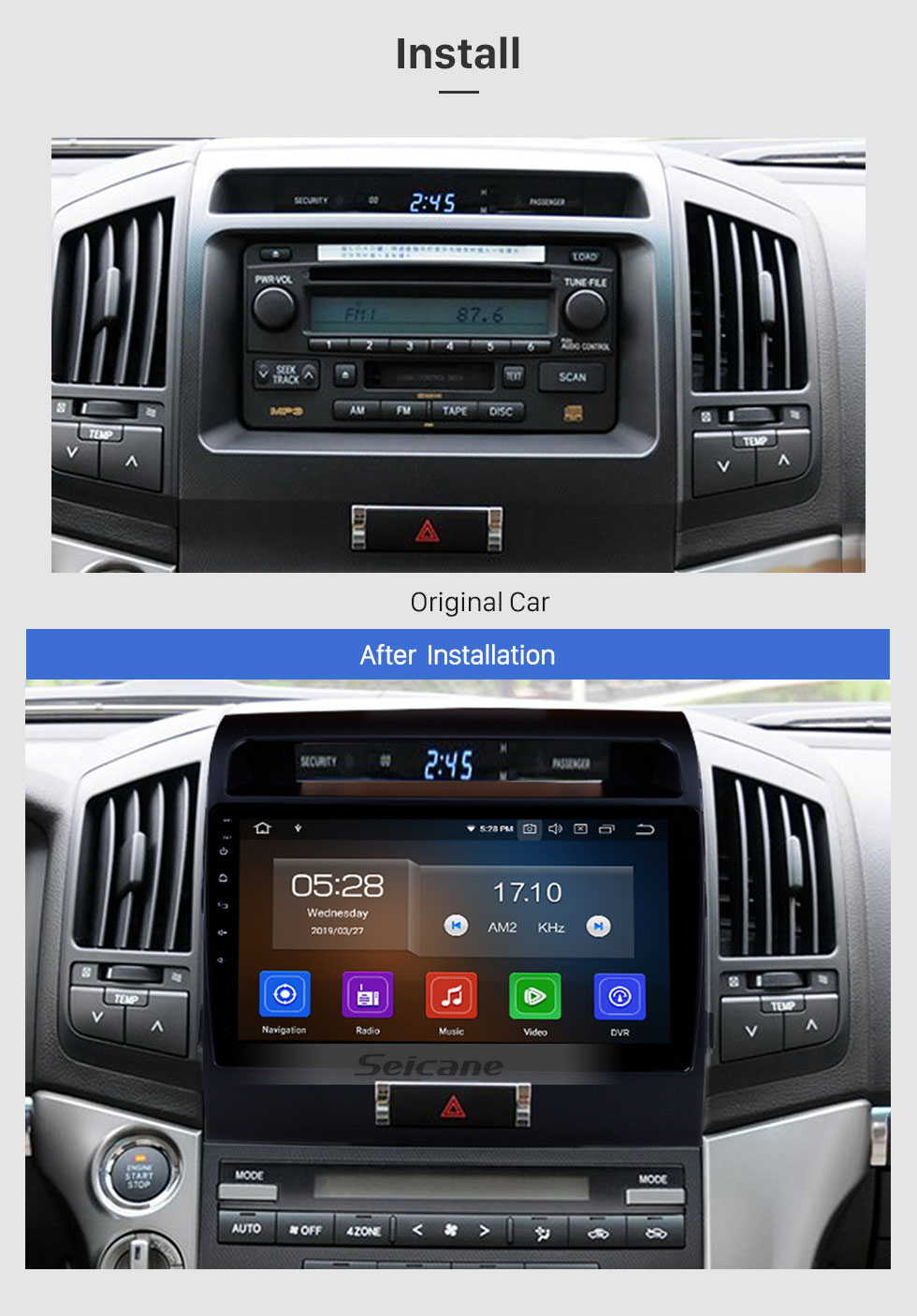 Seicane 10,1 Zoll 2007-2017 TOYOTA LAND CRUISER Android 9.0 HD-Touchscreen-Radio-GPS-Navigationssystem Bluetooth-Stützauto-Stereo-Musikspiegel-Link OBD2 3G / 4G WiFi-Video-Backup-Kamera