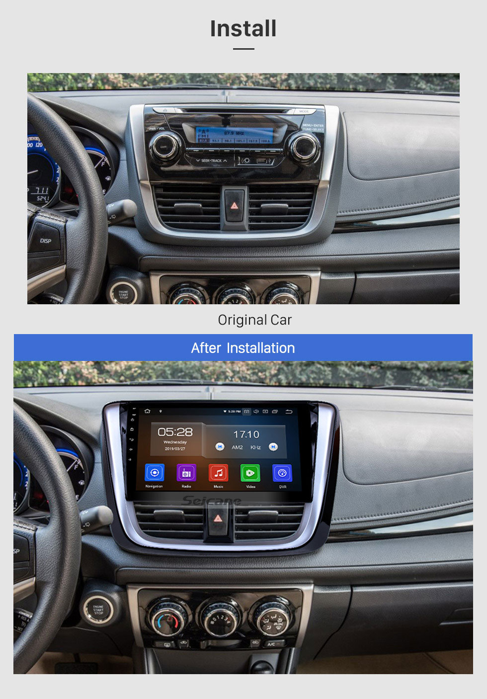 Seicane 10.1 inch 2014 2015 2016 2017 TOYOTA VIOS Android 9.0 HD Touchscreen Radio Auto Stereo GPS Navigation System Bluetooth Support OBD II DVR 3G/4G WIFI Rear view camera