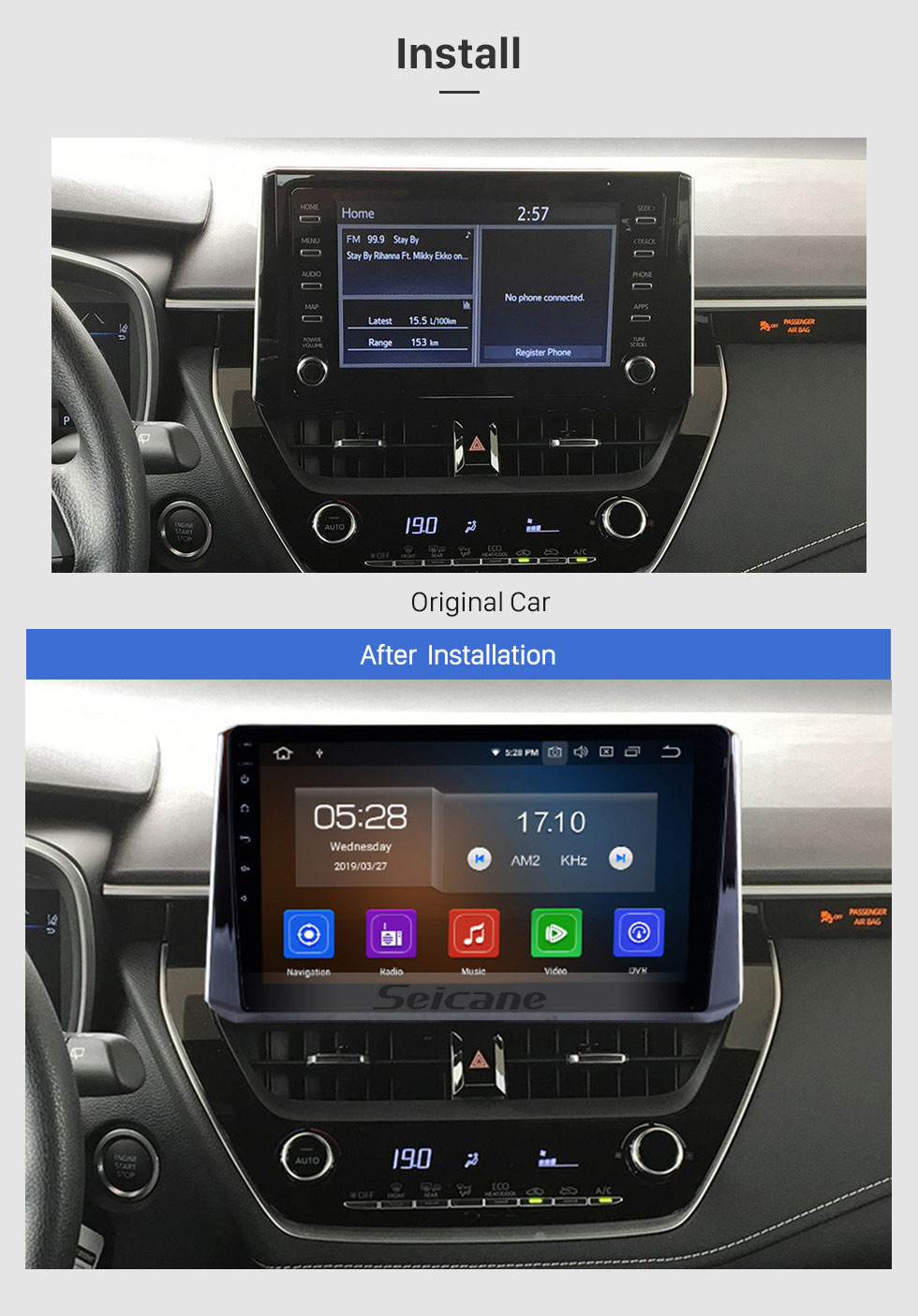 Seicane 10.1 inch GPS Navigation system Android 9.0 2019 Toyota Corolla Support Radio IPS Full Screen 3G WiFi Bluetooth OBD2 Steering Wheel Control