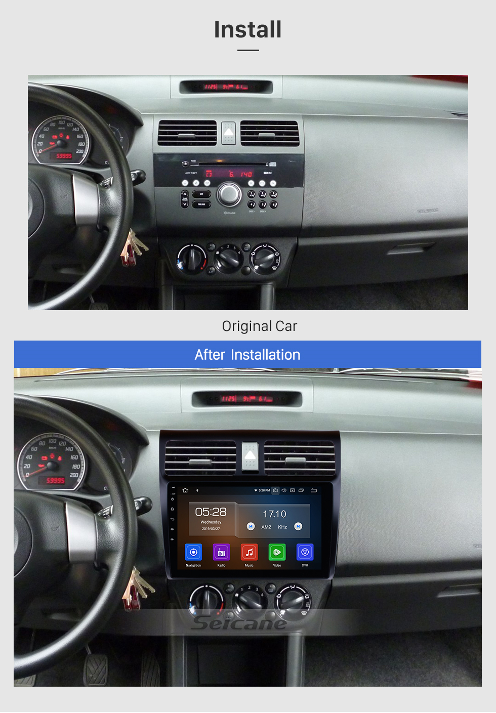 Seicane 10,1 Zoll Android 9.0 2005-2010 Suzuki Swift HD Touchscreen-Radio GPS-Navigation Bluetooth WIFI USB-Spiegel-Link-Aux-Rückfahrkamera OBDII TPMS 1080P-Video