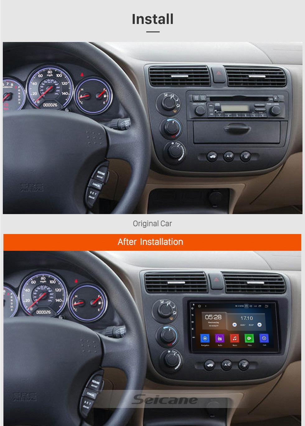 Seicane 7 polegada Android 9.0 Carro Sistema de Navegação GPS Estéreo para 2001-2005 Honda Civic com Wi-fi Bluetooth 1080 P HD Touchscreen AUX apoio FM Link do Espelho OBD2 SWC