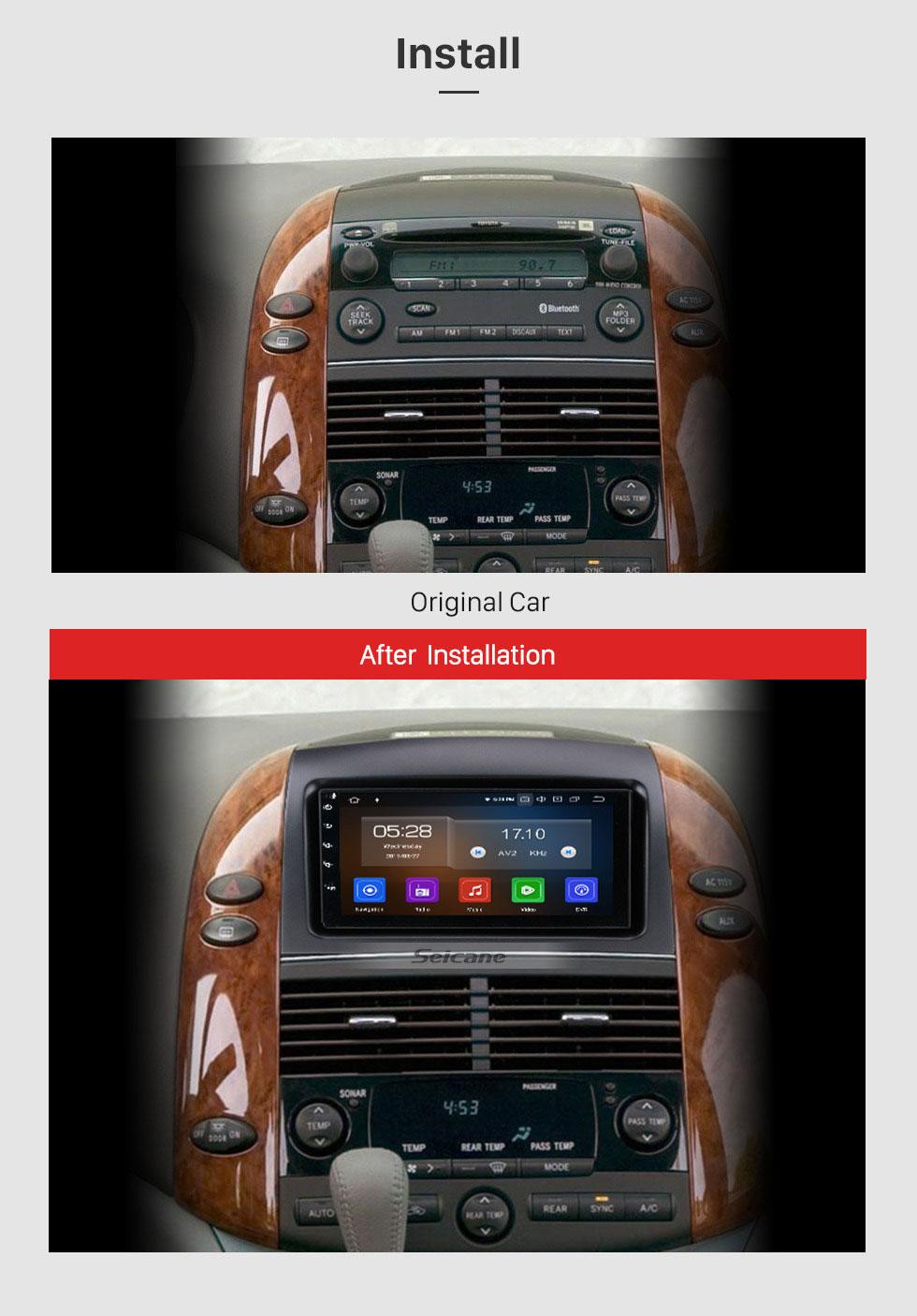 Seicane Android 9.0 2004-2010 Toyota Sienna Radio GPS Navigationssystem Mit HD Touchscreen Bluetooth 3G Wlan Rückfahrkamera Lenkradsteuerung