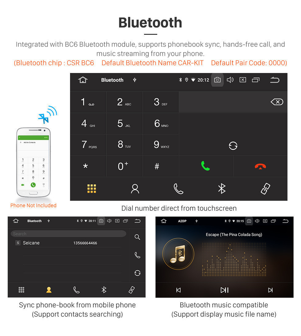 Seicane Sistema de Navegación Android 9.0 2004-2010 Toyota Sienna Radio GPS con HD de pantalla táctil Bluetooth 3G WIFI reserva de la cámara de control del volante