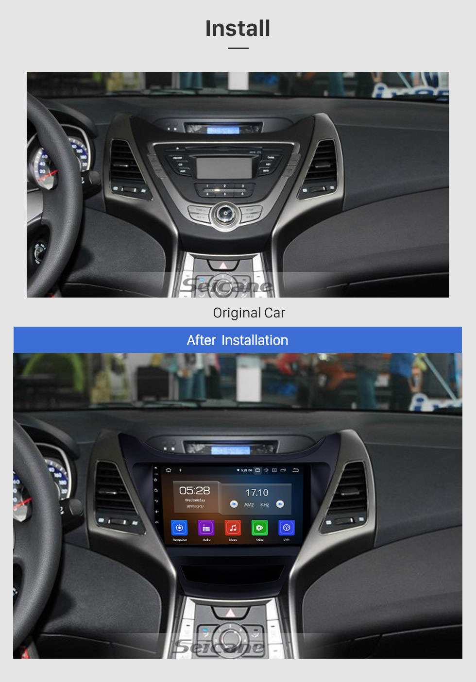 Seicane OEM 9 inch Android 9.0 2014-2015 Hyundai Elantra Radio Upgrade with DVD GPS Stereo Bluetooth Mirror Link OBD2 AUX 3G WiFi DVR