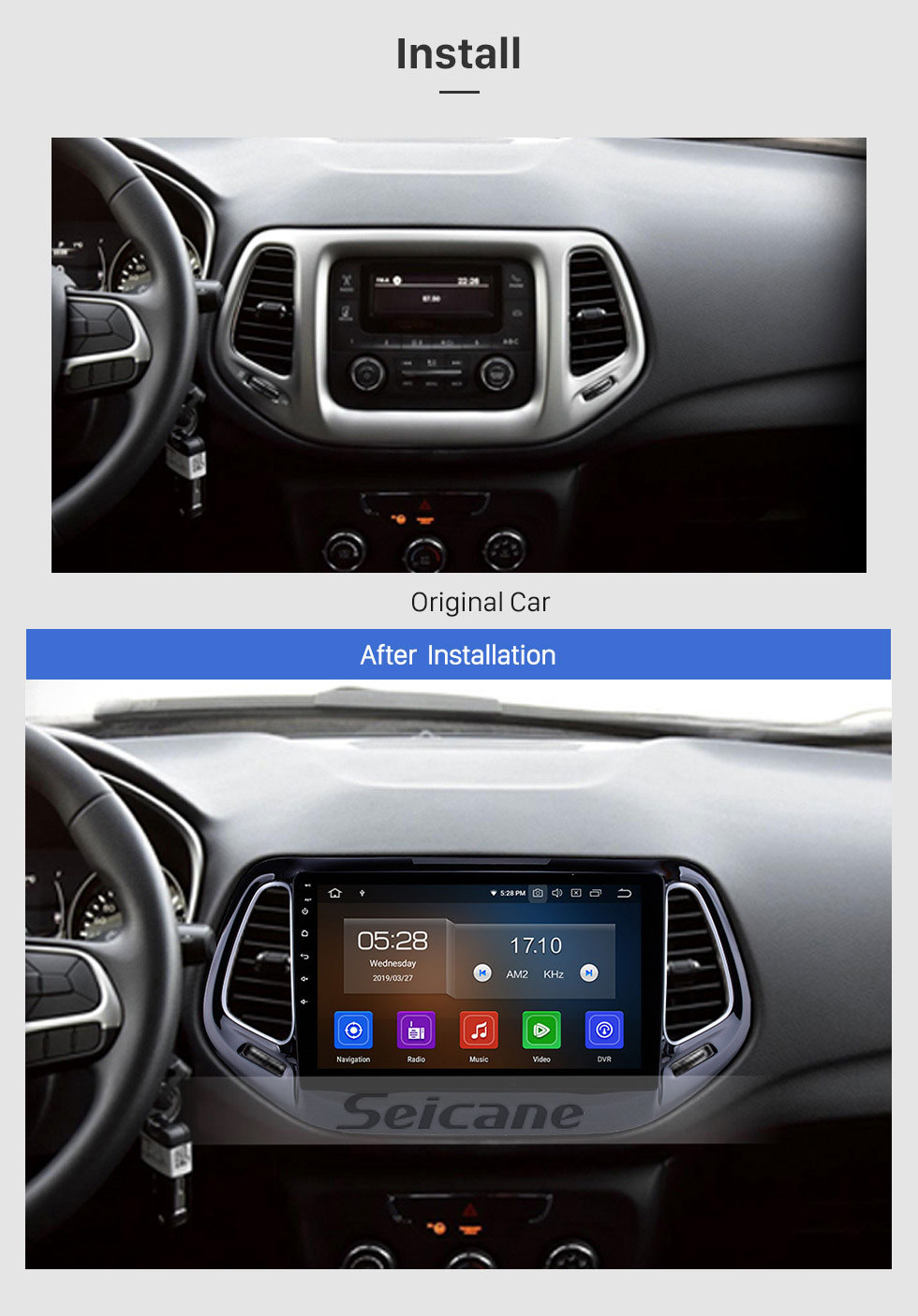 Seicane Android 9.0 Navigation GPS pour 2017 Jeep Compass 10,1 pouces HD Écran tactile Multimédia Radio Bluetooth MP5 musique Lien de miroir WIFI Support USB 4G Carplay SWC OBD2 Rearview