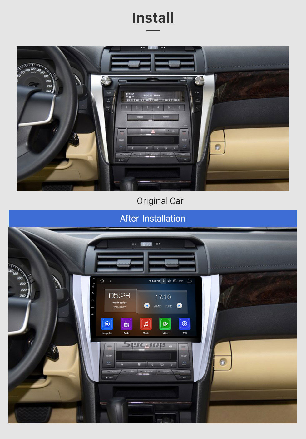 Seicane 10.1 Inch Android 9.0 Bluetooth Radio For 2015 2016 2017 Toyota CAMRY 3G WiFi GPS Navigation system TPMS DVR OBD II Rear camera AUX Headrest Monitor Control USB SD Video 3G WiFi Capacitive Touch Screen