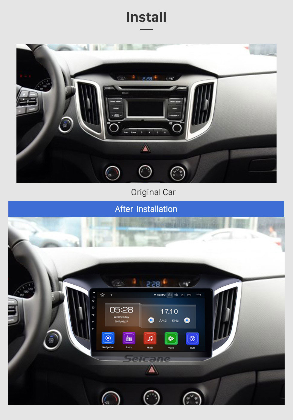 Seicane 10.1 Inch Android 9.0 Radio For 2014 2015 HYUNDAI IX25 Creta with 3G WiFi Bluetooth GPS Navigation system Capacitive Touch Screen TPMS DVR OBD II Rear camera AUX Headrest Monitor Control USB SD Video