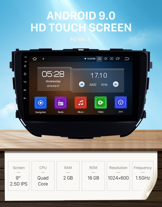 Seicane OEM Android 9.0 9-Zoll-Autoradio für 2016 2017 2018 Suzuki BREZZA mit Bluetooth GPS-Navigationssystem HD-Touchscreen Wifi FM MP5 Musik USB-Unterstützung DVD-Player SWC OBD2 Carplay