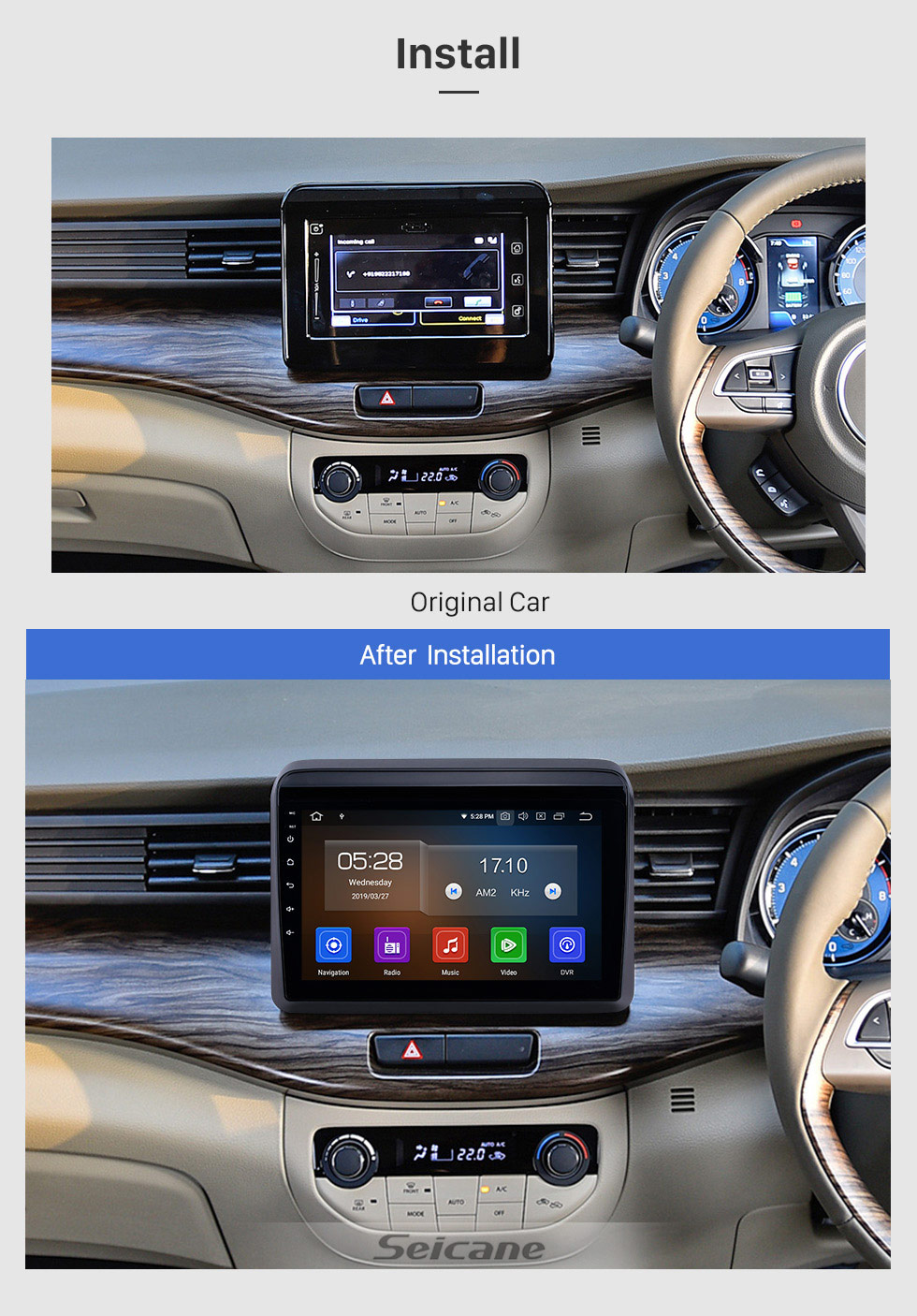 Seicane 9 inch HD Touchscreen 2018 2019 Suzuki ERTIGA Android 9.0 Radio with GPS Navigation System WIFI USB Bluetooth Mirror Link support Backup Camera DVR 1080p DVD Player TPMS